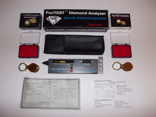 PuriTEST Two Jeweler's Diamond Testing Kit Pieces Professional Loupe and Electronic Diamond Tester Machine Magnifying Lens Loup Loop Triplet 30x and 10x
