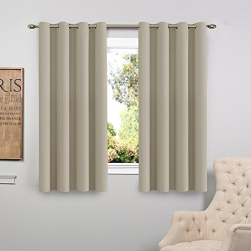 FlamingoP Window Treatment Energy Saving Thermal Insulated Solid Grommet Blackout Curtains /Drapes for Living Room (Two Panels, 52 by 63-Inch, Ivory)
