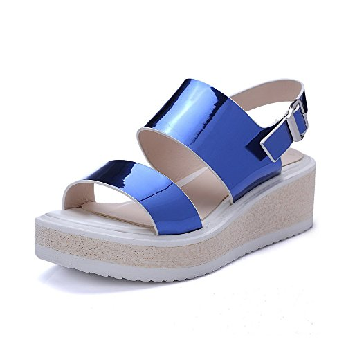 AgooLar Mujeres Microfibra Plataforma Puntera Abierta Sólido Hebilla Sandalia Azul