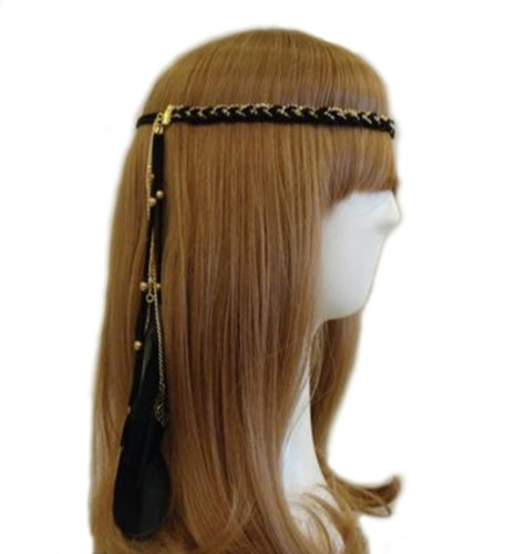 Ladies Hippie Headband Girl Feather Headdress Costume Accessory