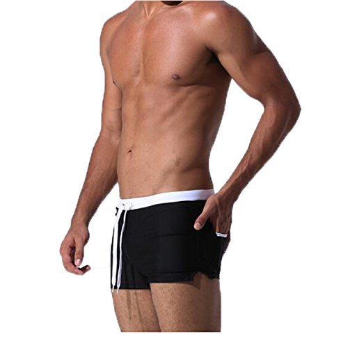 Faceegg Mens Swimming Boxer Swimsuit With Pocket Shorts Drawstring Trunks Underwear (Large, Black-Style 2) by Faceegg