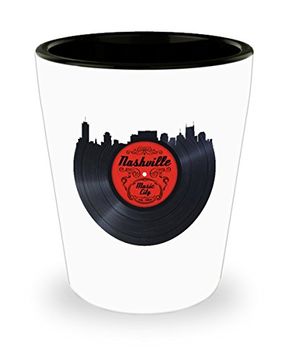 Nashville Music City Shot Glass for Country Music and Vinyl Fans
