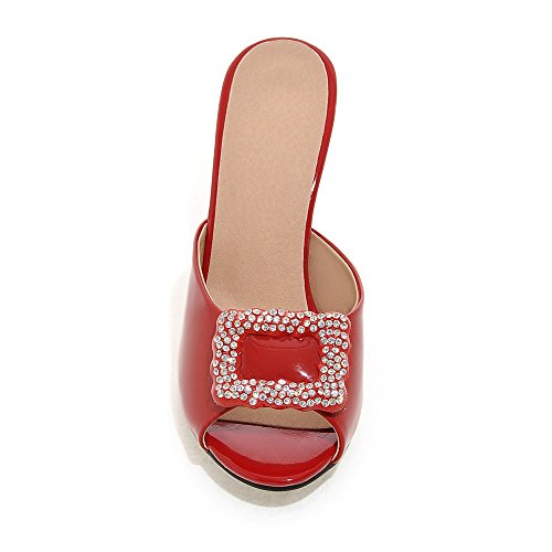 Minivog Mujeres Buckle Slipper Mules Para Cool Weather Red
