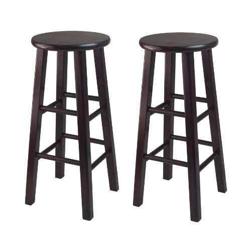 Winsome Bar Stool with Square Legs, 29-Inch, Espresso, Set o