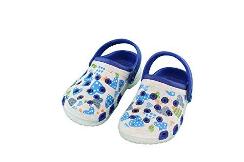 Kinder Clogs Hausschuh Mädchen Schuhe Pantolette mit rutschfester Sohle - Farbe: Blau-Weiss - Größe: 35