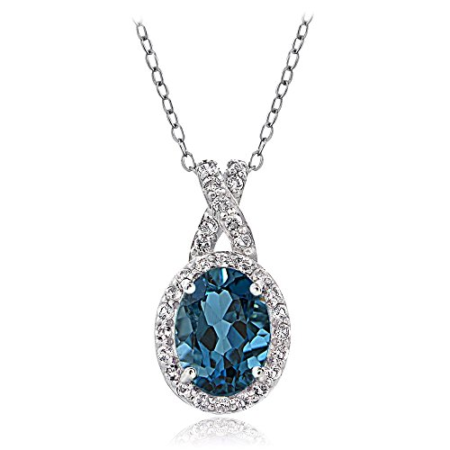 GemStar USA Sterling Silver London Blue & White Topaz X and Oval Necklace