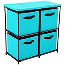 "Homebi 4-Drawer Storage Chest Shelf Unit Storage Cabinet Multi-Bin Organizer with Removable Non-woven Fabric Bins in Turquoise,25""W x 13.2""D x26.0""H"