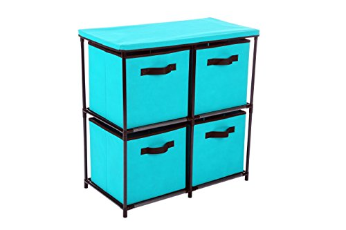 - Homebi 4-Drawer Storage Chest Shelf Unit Storage Cabinet Multi-Bin Organizer with Removable Non-woven Fabric Bins in Turquoise,25