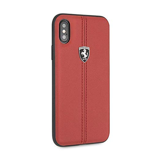 CG Mobile Ferrari iPhone X & iPhone Xs Case Red Cell Phone Case Genuine Leather | Easily Accessible Ports | Officially ()