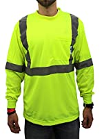High Visibility Long Sleeve Safety Shirt Reflective NEW D01F09 YELLOW X-Large