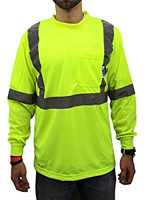 High Visibility Long Sleeve Safety Shirt Reflective NEW D01F09 YELLOW Large