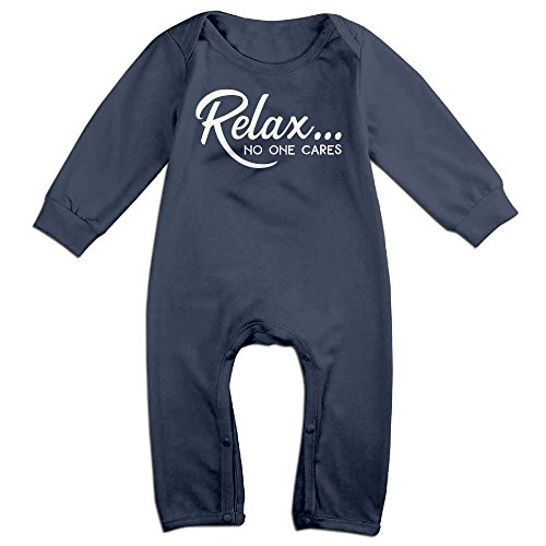 Stick Figure Costume Baby (Baby Infant Romper Relax...no One Cares Long Sleeve Jumpsuit Costume Navy 6 M)