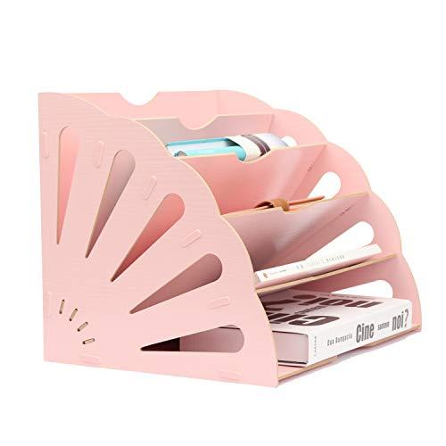 Assembly Buckle - 5 Sections Assembly File Sorter Buckle Design Office Wood File Organizer Document Desktop Folder for Home Students DIY Organization, Fan-Shaped Mail Letter Desk File Holder, Pink
