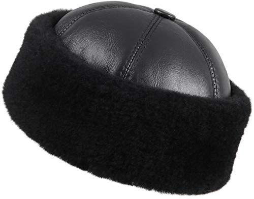 Zavelio Women's Shearling Sheepskin Winter Beanie Hat Large Solid Black
