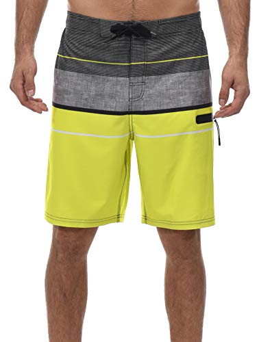 Little Donkey Men's Stretch Board Shorts, Swim Trunks, Beach Shorts, UPF 50+ UV Protection, Quick Dry Yellow ()