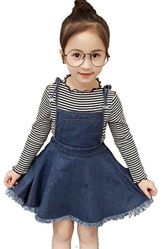 Pinafore Girls - 2Pcs Toddler Baby Girls Long Sleeve Striped Tops +Denim Suspender Skirt Sets Size 2-3T/Tag 7 (Blue)