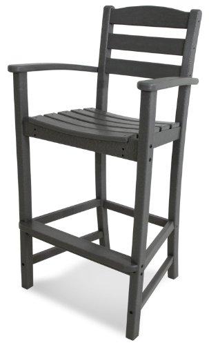 POLYWOOD TD202GY La Casa Café Bar Arm Chair, Slate Grey (Bar Plastic Stools Recycled)