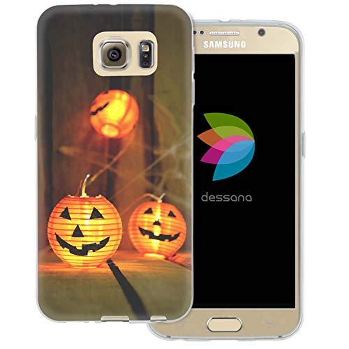 dessana Halloween Transparent Protective Case Phone Cover for Samsung Galaxy S6 Pumpkin lampion ()