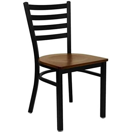 Ladder Back Black Metal With Mahogany Wood Seat A Heavy Duty Restaurant Chair With 16 Gauge Steel Frame In Black Powdercoat Finish Set Of 2