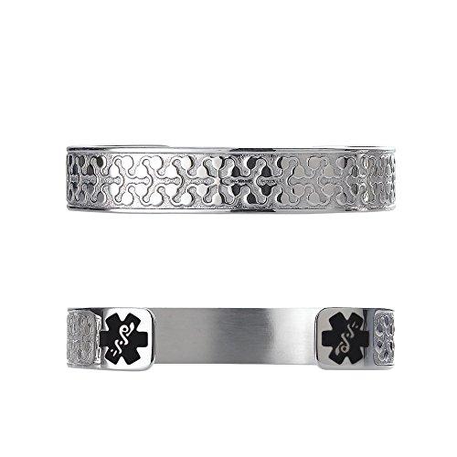 Divoti Custom Engraved Charming Petal 316L Medical Alert Bracelet -6'' Cuff (fits 6.5-8.0'') - Black by Divoti
