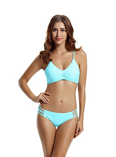 - zeraca Women's Strap Side Bottom Halter Racerback Bikini Swimsuits (XL18, Aqua Sky)