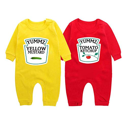 Twin Set Shirt - YSCULBUTOL Yummz Tomato Ketchup Yellow Mustard Red and Yellow Bodysuit Baby Boy Twins Baby Clothes Twins Baby Boys Girls