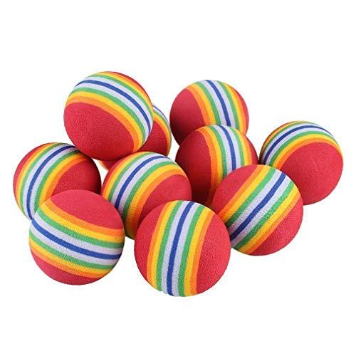 (TMROW 10PCS Sponge Ball Cat Toy Soft Foam Rainbow Play Balls Interactive Kittens Pet Toys)