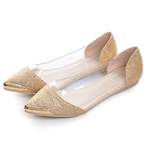VFDB Fashion Glitter Transparent Ballet Shoes Sparkling Embellish Slip On Jelly Flats Gold -