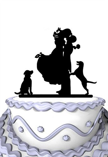 Meijiafei Wedding Cake Topper - Bride and Groom with 2 Bichon Frice Silhouette for Rustic Wedding Supplies