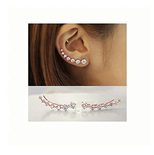 NewAmaz 7 Crystals Ear Cuffs Hoop Climber S925 Sterling Silver Earrings Hypoallergenic Earring (Rose Gold)