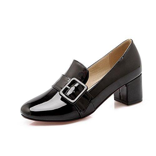 Balamasa Ladies Tacco Grosso Scarpe Con Fibbia Quadrata In Metallo Urethane Shoes-shoes Nere