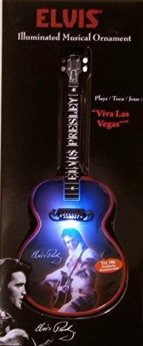 "Elvis Presley Illuminated Musical Light Up Guitar Christmas Ornament - ""Viva Las Vegas"""