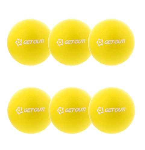 "Get Out! 6"" Inch Foam Dodgeballs 6-Pack Set in Yellow – Soft, Lightweight, Latex-Free Sponge Playground Dodgeball Balls"