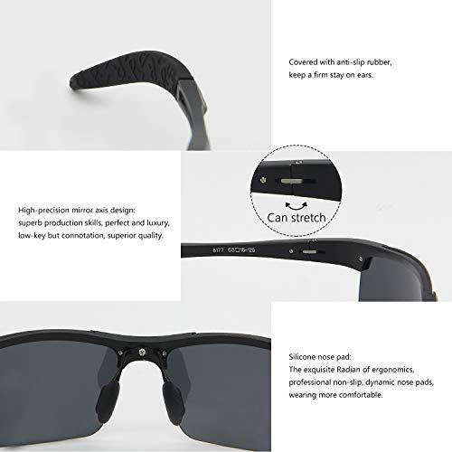 Gafas Hombre Deportivas Para De AMZTM Negro Sol Plateado Gafas Polarizadas pUdxaw