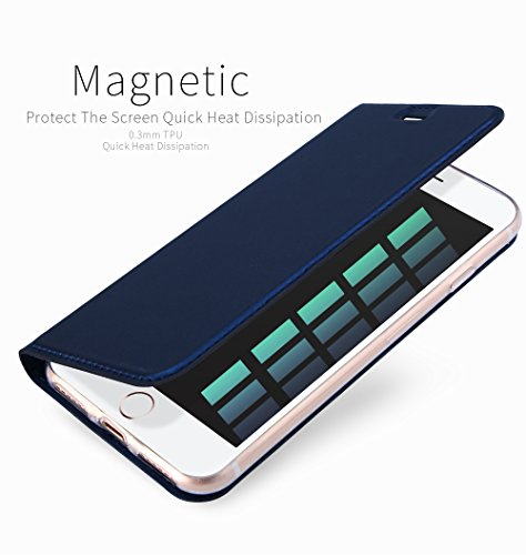 iPhone 6S Coque ,iPhone 6 Coque ,SUNWAY Series Ultra Slim Skin PU Leather Folio Flip With Kick Stand Card Slots Magnetic Closure Full Body Protection Back Cover for iPhone 6S/6 4.7 Inch ,Bleu