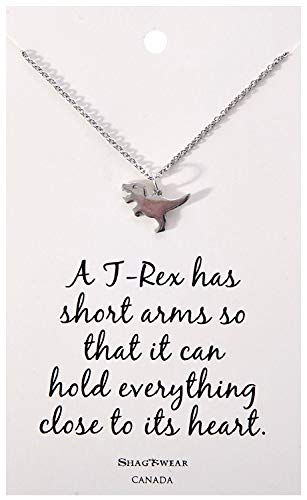 Shag Wear Favourite Animals Inspirations Quote Pendant Necklace (T-Rex Dinosaur Pendant) (Pewter Choker Necklace Charm Gold)