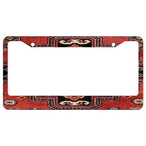 Handmade Persian Rug License Plate Frame Black - Aluminum Metal License Plate Covers Cute Car Tag Frame for Women/Girl
