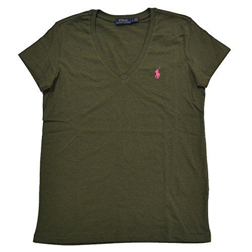 Pony Pink Green - Ralph Lauren Womens V-Neck Jersey T-Shirt (Large, Green - Pink Pony)