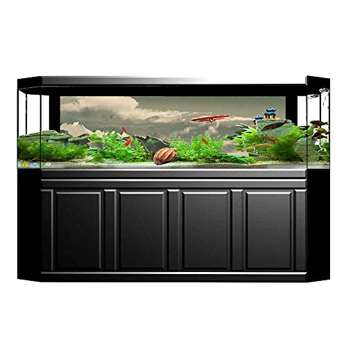 UHOO2018 Fish Tank Poster Aquarium Background Backdrop PVC Adhesive House Decor Biplane Flying Over Mountain Range Inside Storm Clouds Digital Paint Red Sticker Wallpaper Fish Tank 29.5