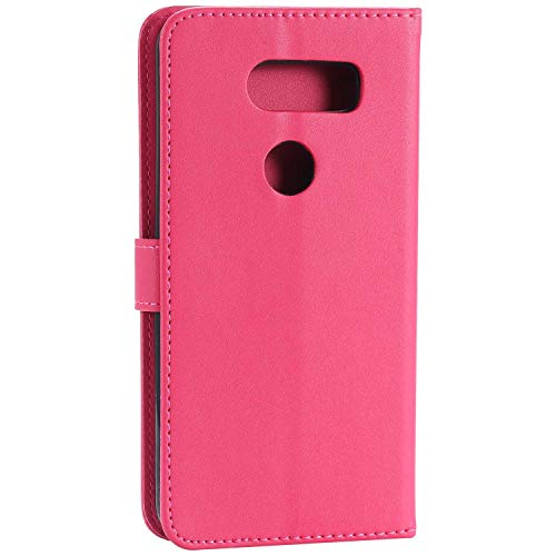 UNEXTATI LG V30 Case, Leather Magnetic Closure Flip Wallet Case with Card Slot and Wrist Strap, Slim Full Body Protective Case (Hot Pink #2) by UNEXTATI (Image #3)