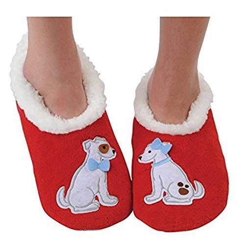 (Snoozies Womens Classic Splitz Applique Slipper Socks - Love Pups, Medium)