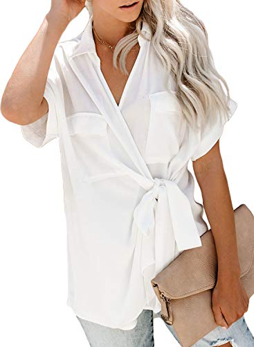 - HOTAPEI Womens Summer Casual Wrap V Neck Collared Waist Tie Basic Cuffed Sleeve Work Shirts Tops Chiffon Blouses for Women Fashion 2019 Short Sleeve White Large