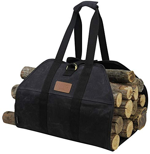 INNO STAGE Premium Firewood Carrier | Fireplace Log Holders Indoor | Great Log Rack Cover | Heavy Duty Log Carrier Fire Log Holder Ourdoor | Canvas Log Holder | Wood Log Holder-Black
