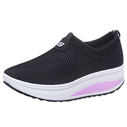 Tantisy ♣↭♣ Fashion Women's Net Grid Running Shoes/Lightweight Breathable/Comfy Platform Shoes/Heel High:4cm/1.6'' Pink