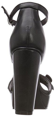 Sandali Alla black Bianco 10 Nero Cinturino Caviglia Donna Con Flower wC5O5qB