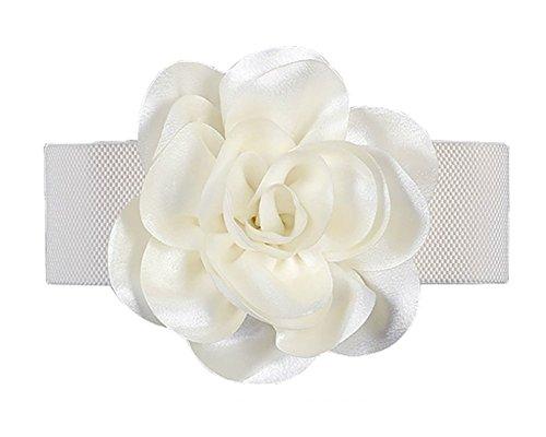 Women Girls Fashion Flower Wide Elastic Waist Band Waist Belt (white) ()
