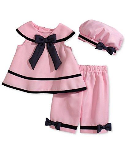 Capris Pink Rare Editions (Rare Editions Baby Girls' Sailor 3-Piece Pink Dress, Capri Pants, & Hat Set (24M, Pink))