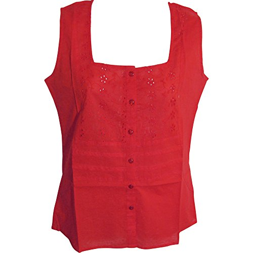 Pintuck Square - Yoga Trendz Missy Cotton Sleeveless Eyelet Pintuck Square-Neck Button-Down Blouse Top No46 (XL, Coral Red)