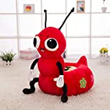 WAYERTY Children's Armchair, Children Sofa Cute Ant Plush Toy Bean Bag Kid Chair Seat Animal Soft Couch Cartoon Tatami Birthday Gifts-red W50xH50cm(20x20inch)