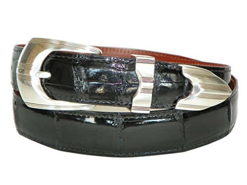 (Charles Underwood Men's Genuine Alligator Belt with Mojave 3-Piece Buckle Set - Black, Size 42 )